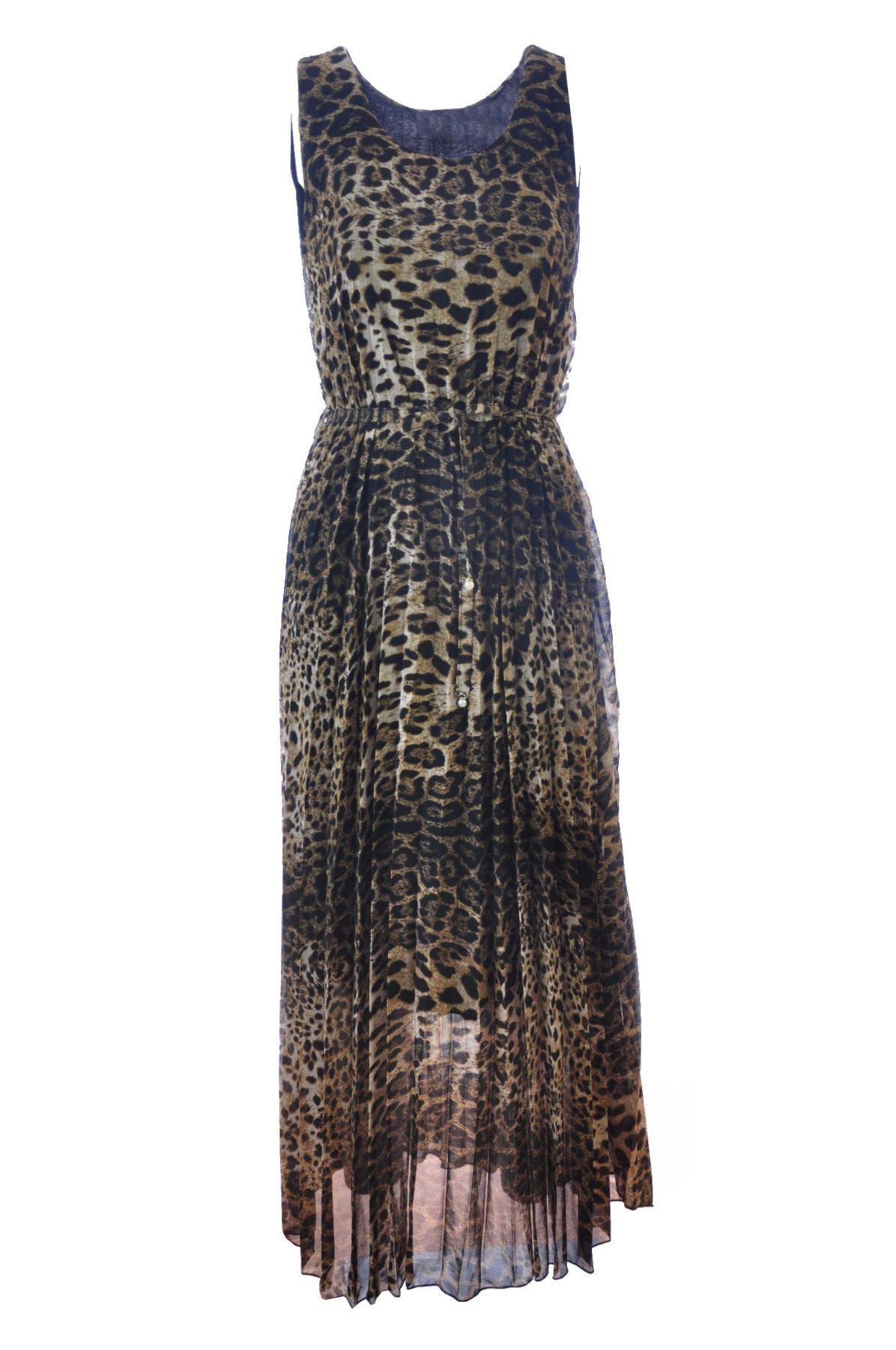 3d6485a8ee11d2 Maxi-jurk mouwloos plissé leopard Bruin Terra Di Siena ...