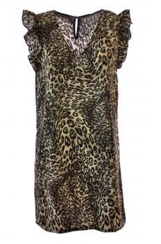 8ff12a24923253 Jurk vlindermouw leopard goudkleurdraad