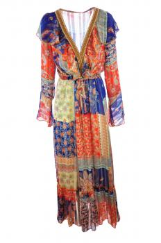 574ed4d01b43c8 Maxi-jurk lm gelaagd V-hals bloemenprint glinsterdraad studsafwerking